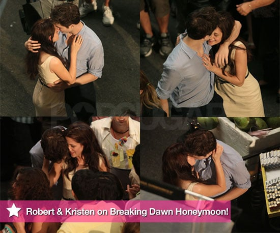 Pictures of Robert Pattinson and Kristen Stewart Kissing For Breaking Dawn Honeymoon in Brazil