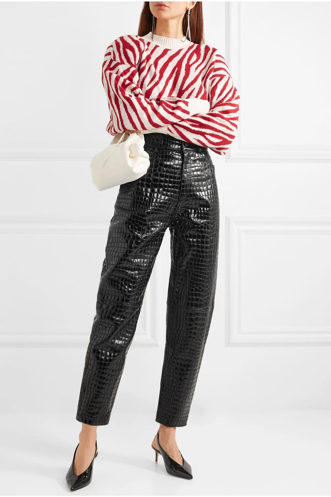Attico Croc-Effect Leather Tapered Pants