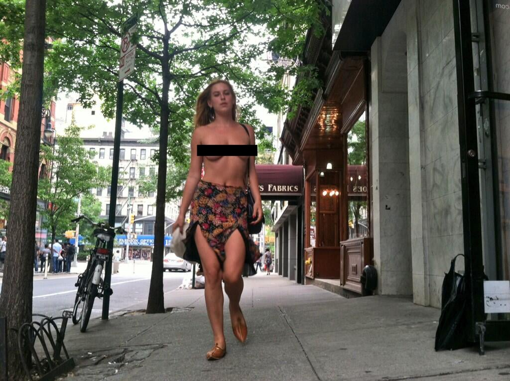 Scout Willis Walking Topless in NYC Protest | Pictures