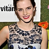 Emma wore her hair in a side parting.