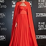 Donning a red Giambattista Valli gown and matching cape, SJP took little red riding hood from kiddie to couture during a 2011 press trip to Russia.