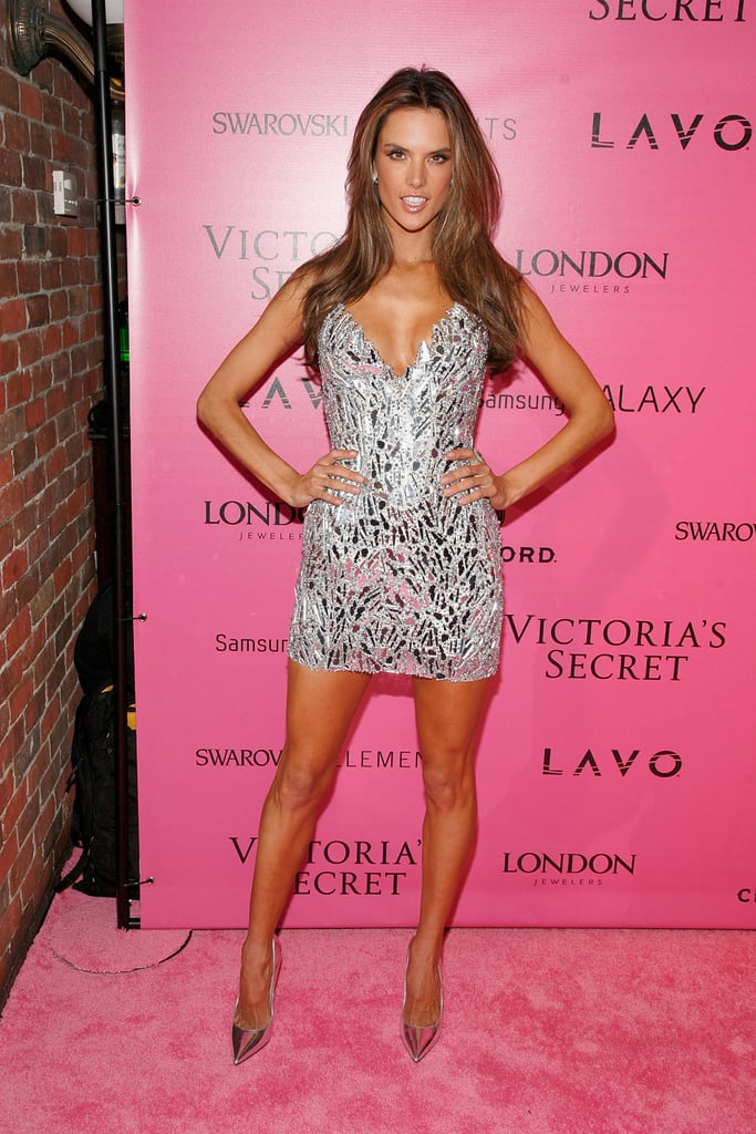 Alessandra Ambrosio, who showed off the Fantasy Bra on the runway, traded her jeweled lingerie for a jeweled minidress.