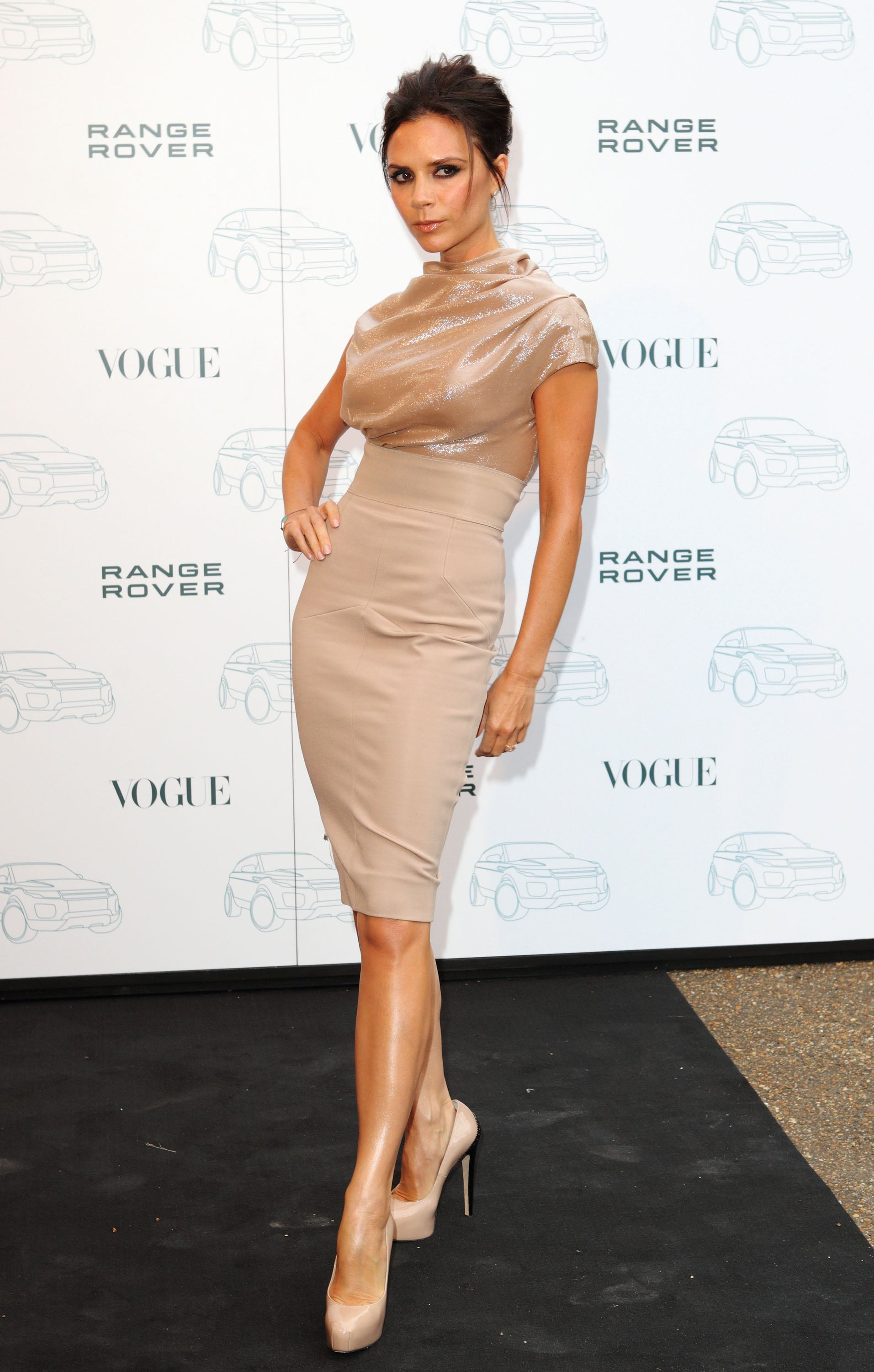 Big Brian fan, Victoria Beckham went for head to toe nude at the Range Rover 40th Anniversary party back in September.