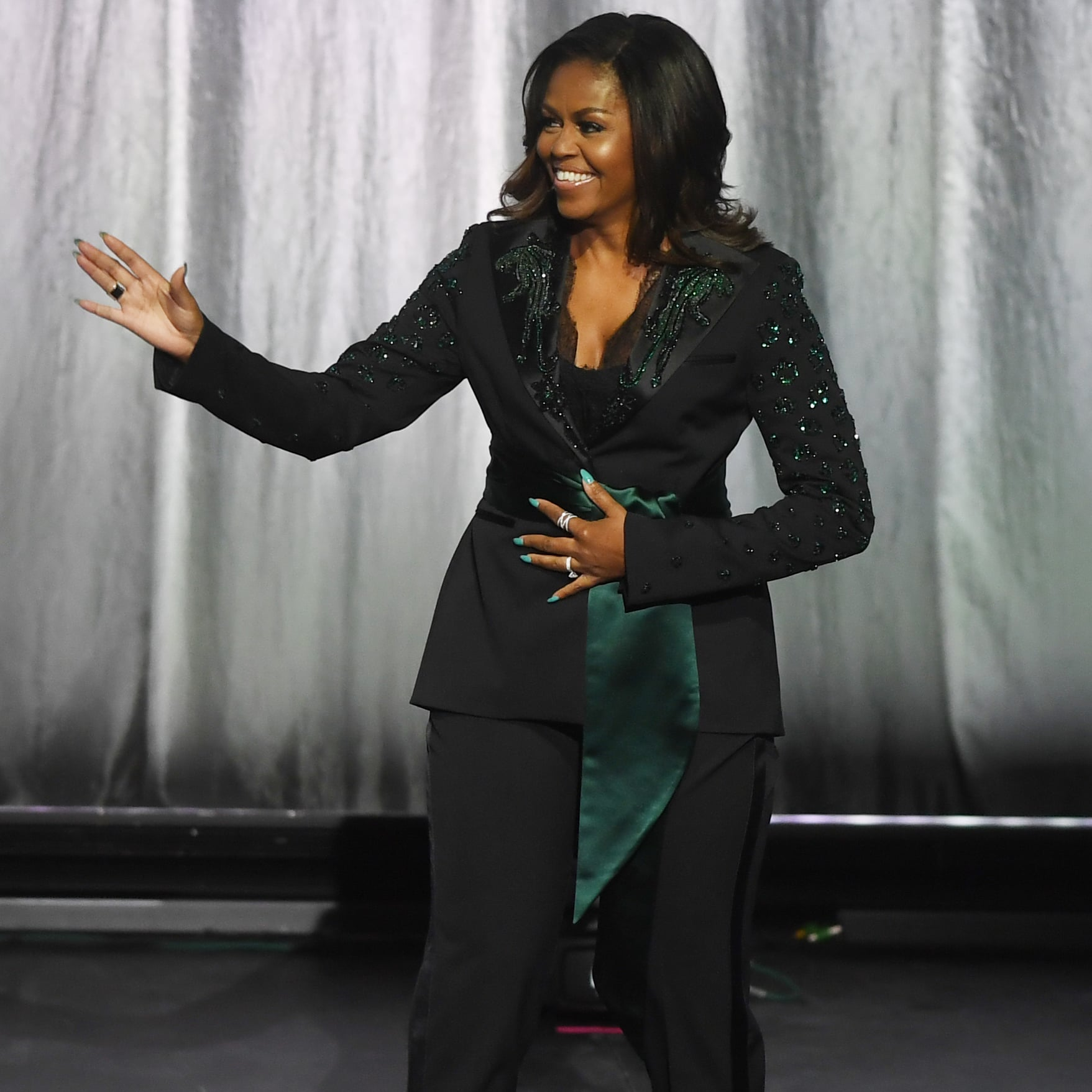 4341516dc7e Michelle Obama Black Suit by Dundas on Becoming Tour
