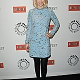 At PaleyFest January Jones donned a knee-length Jenny Packham number to promote Mad Men in March.