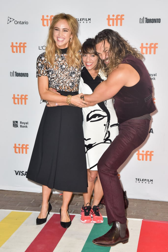 There have been so many fun movie premieres at the Toronto Film Festival this past week, but it was the cast of The Bad Batch who really stole the spotlight. On Tuesday, Jason Momoa, Suki Waterhouse, and director Lily Amirpour showed off their silly sides when they hit the red carpet at the Ryerson Theatre. Jason, who also posed for pictures solo, cracked up his castmates as he hugged them tightly and made goofy faces. This, of course, isn't the first time we've gotten a glimpse of Jason's playful personality. In August, the future Aquaman actor engaged in some hilarious antics with Henry Cavill at the Suicide Squad premiere in London.       Related:                                                                27 Times Jason Momoa Almost Burst Out of His Shirt (and We All Crossed Our Fingers)                                                                   Your Comprehensive Guide to Jason Momoa's Many Tattoos                                                                   43 Times Jason Momoa Was So Hot, We Almost Called the Fire Department