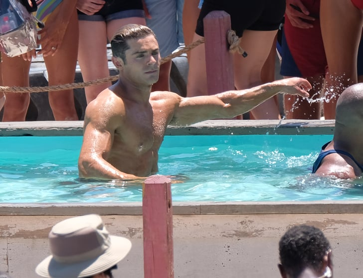 Dwayne Johnson And Zac Efron Swimming On The Set Of