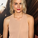 Taylor Schilling wore a nude colored dress to The Lucky One premiere in Melbourne.