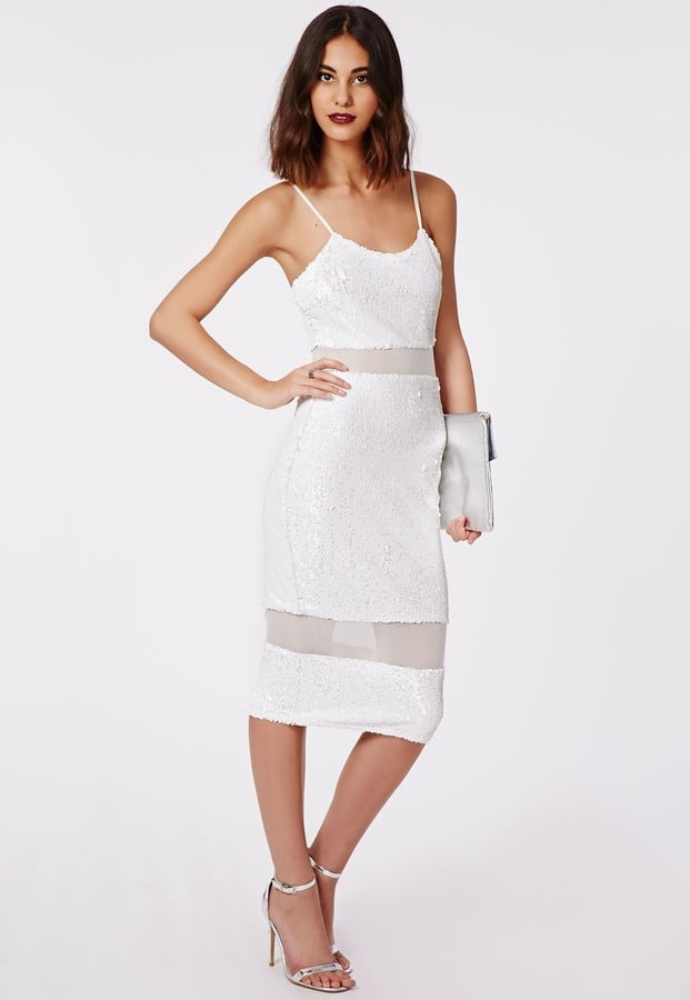 Shilin Sequin Mesh Insert Midi Dress