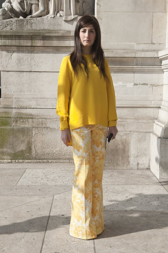 With sunny hues and florals, this look was quite literally a bright spot in Paris street style.
