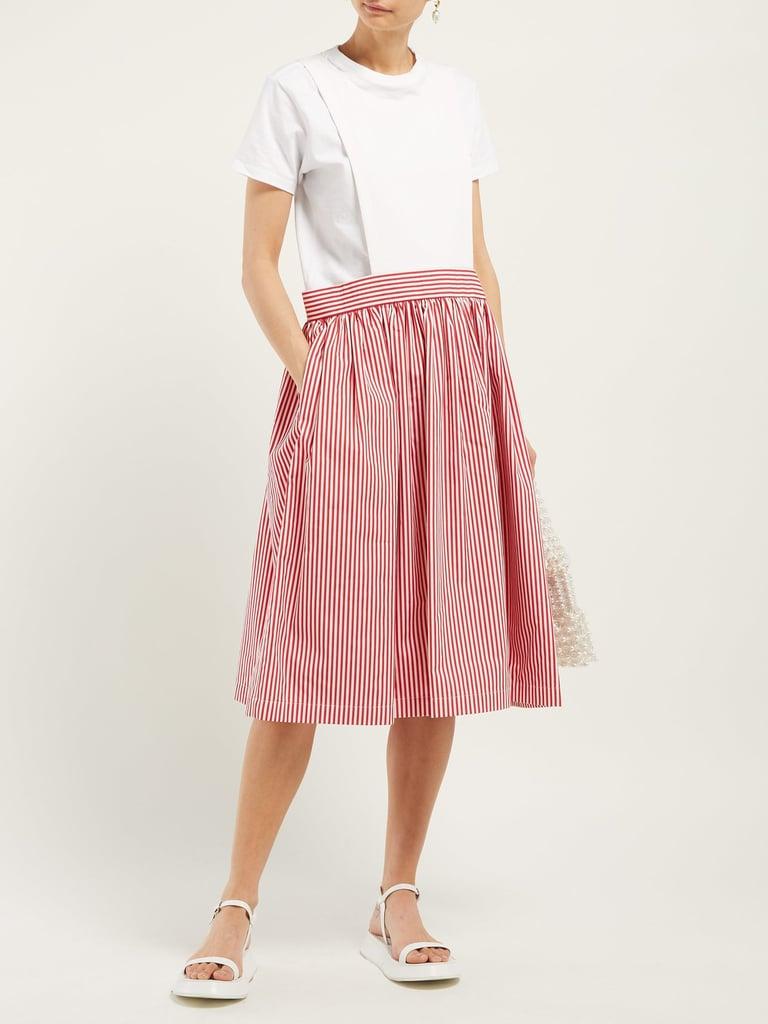 Comme Des Garcons Girl Striped Cotton Pinafore Dress