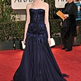 Anne stunned in navy beaded Armani Privé at the 2009 Golden Globes.