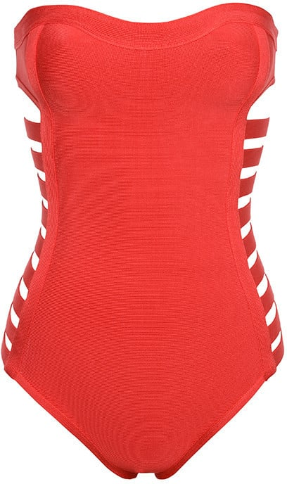 a64b9caf3dd House Of CB 'Nevada' Red Cut Strapless Bandage One Piece Swimsuit (£69