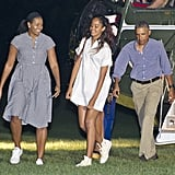 When Michelle and Malia kept the laughs going upon their return to the White House from a vacation.