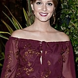 Leighton Meester wore her hair back for the Salvatore Ferragamo Resort collection show in Paris.