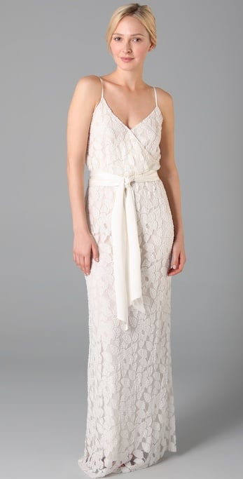 This lace gown is ideal for a romantic beach wedding.  Halston Heritage Spaghetti Strap Long Dress ($895)