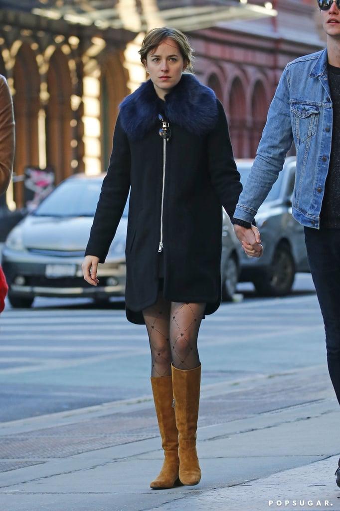 Dakota's Black Coat With Blue Furry Collar