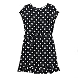 Tie Waist Dress in Jet Black Macro Dot