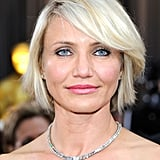 Cameron Diaz highlighted her strapless neckline with a diamond necklace.