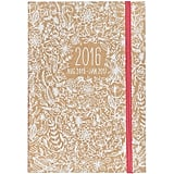 2015-2016 Paper Source White Floral Stitch-Bound Planner