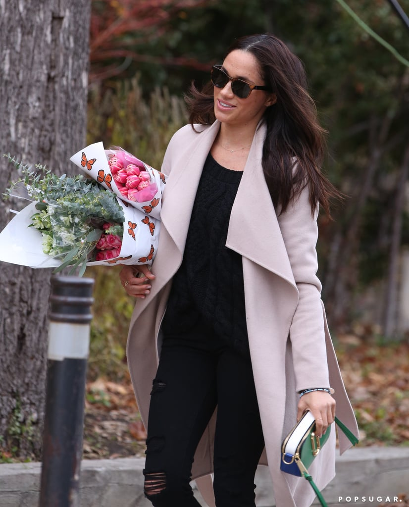 "It looks like things are getting serious between Meghan Markle and Prince Harry. On Dec. 3, the Suits actress was spotted shopping for flowers in Toronto, but it was her necklace that really grabbed our attention. Clad in a pink trench coat and black ripped jeans, Meghan donned a necklace with the letters ""H"" and ""M"" on it. While the couple has yet to make their first public appearance together, Harry is currently in Canada visiting his girlfriend. According to The Sun, Harry flew from Georgetown, Guyana, to Toronto after completing his 14-day tour of the Caribbean on Sunday. A source told the publication that ""Harry just couldn't wait to see her,"" so he ditched his entourage for the rendezvous. We wonder what Harry thinks about Meghan's necklace.       Related:                                                                                                           Everything There Is to Know About Prince Harry and Meghan Markle's Royal Relationship"