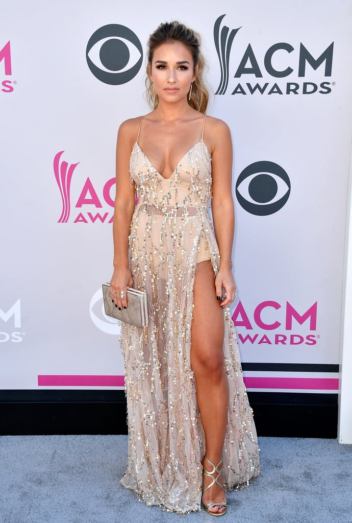 Jessie James Decker style wearing Abyss by Abby Casino Royale gown on the red carpet