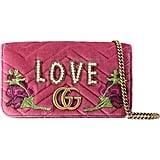 Gucci GG Marmont 2.0 Embellished Velvet Shoulder Bag