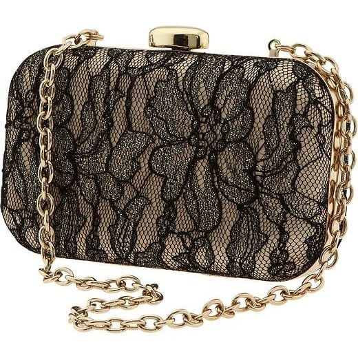 Banana Republic's lace clutch ($98) is an elegant option and would look especially amazing with a black tuxedo suit.