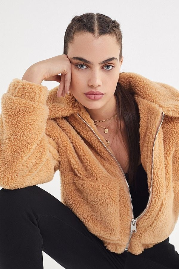 Uo Willow Fuzzy Drawstring Jacket Cosy Clothes From Urban