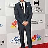 Zachary Levi posed on the NBC post-Golden Globes party red carpet.