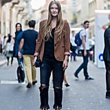 In black, worn with a camel blazer for a cool contrast