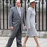Prince Albert of Monaco and his fiancee Charlene Wittstock, in coat and dress by Akris' Albert Kriemler
