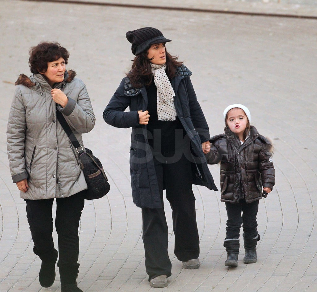 Salma Steps Out With Valentina and Her Mom as She Shoots in Spain