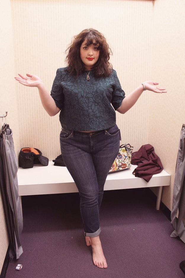 Plus Size Model Compares Different Pairs Of Size 16 Jeans