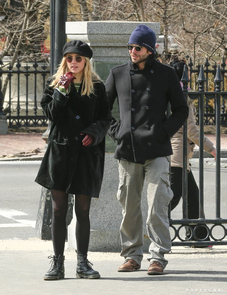 Bradley Cooper walked with Suki Waterhouse in Boston.