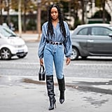 Lean into the western trend by accenting with a double-buckle belt and knee-high boots.