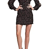 Bardot Long Sleeve Tie-Neck Minidress