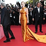 She wore a custom orange Armani Prive dress to the 2017 Cannes Film Festival.