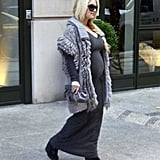 Jessica Simpson stepped out of her NYC hotel in shades of gray.