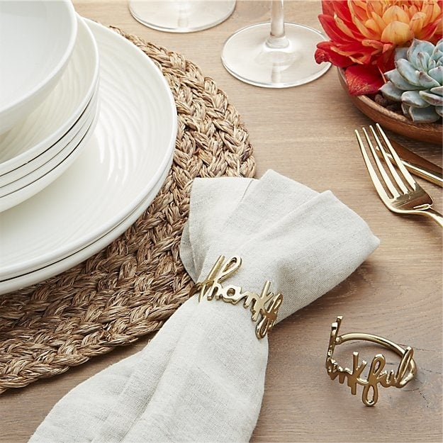 Thankful napkin ring thanksgiving table decoration for 5 golden rings decorations