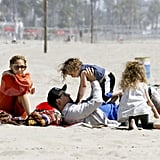 Nicole Richie and Joel Madden enjoyed the company of Sparrow and Harlow on the beach in Malibu.
