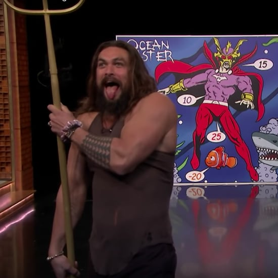 Jason Momoa Trident Throwing With Jimmy Fallon Video