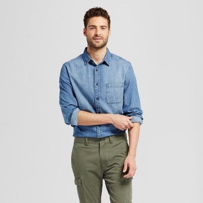Goodfellow and Co™ Men's Long Sleeve 2-Pocket Denim Shirt