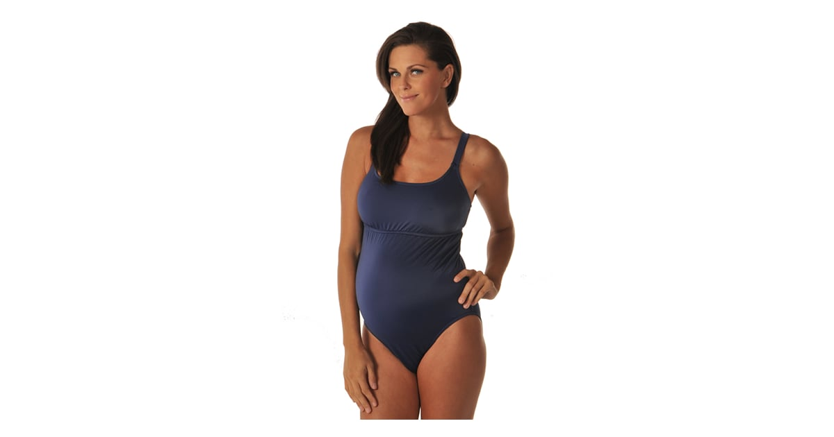 3a04f9e679f65 Prego Maternity Navy Empire Tank ($73) | Rock a Maternity Swimsuit Like  Reese! | POPSUGAR Family Photo 5