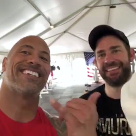 John Krasinski Talks Working Out With Dwayne Johnson
