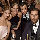 Jennifer and her fiancé Justin Theroux posed with pals Matthew McConaughey and Camila Alves during HBO's Golden Globes afterparty in January 2015.