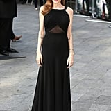 For her first public appearance post-surgery, Angelina opted for a modest gown, custom designed for her by Saint Laurent for the world premiere of World War Z in London over the weekend.