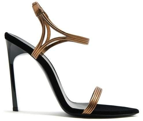 1a02905ca5a Ourika amp Talitha leathertrim velvet sandals Saint Laurent t