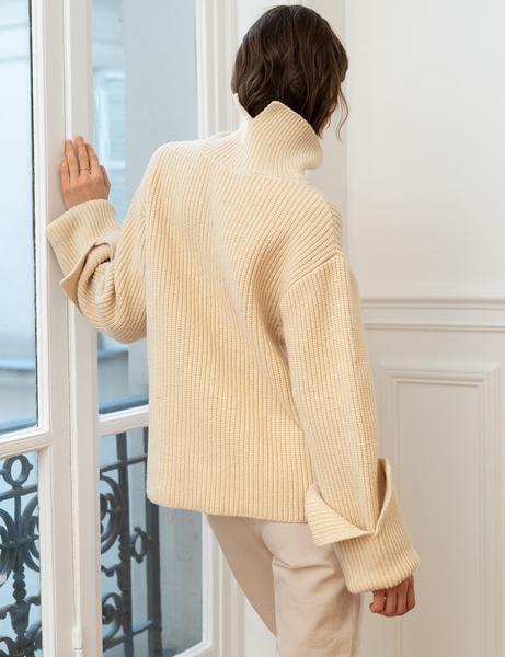 Pixie Market Beige Oversize Sleeve Cuff Sweater