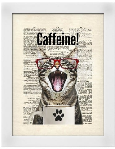 Art.com Cat Caffeine Framed Art Print